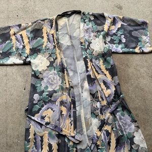 Vintage Floral Silk Kimono Robe Pajama Lingerie